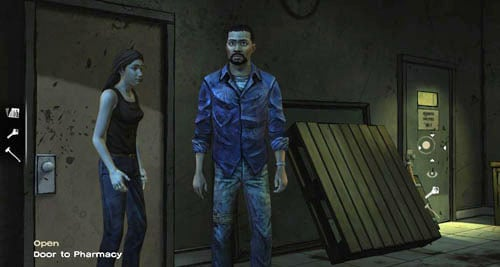 Use the keys to open the Door to Pharmacy and then just go inside - Chapter 6: Hey, Bud - Episode I: A New Day - The Walking Dead - Game Guide and Walkthrough