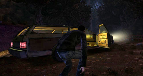After a while, you'll come across an abandoned car - Chapter 7: You Fight Like A Dairy Farmer - Episode II: Starved for Help - The Walking Dead - Game Guide and Walkthrough