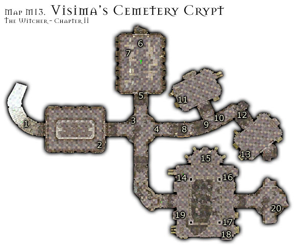1 - Map M13 - Vizimas Cemetery Crypt | Walkthrough - Maps | Chapter II - The Witcher Game Guide & Walkthrough