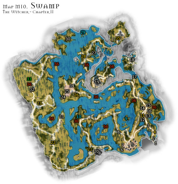 Swamp is a dangerous location at all times - Map M10 - Swamp | Walkthrough - Maps | Chapter II - The Witcher Game Guide & Walkthrough