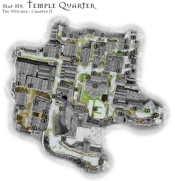 1 - Map M8 - Temple Quarter | Walkthrough - Maps | Chapter II - The Witcher Game Guide & Walkthrough