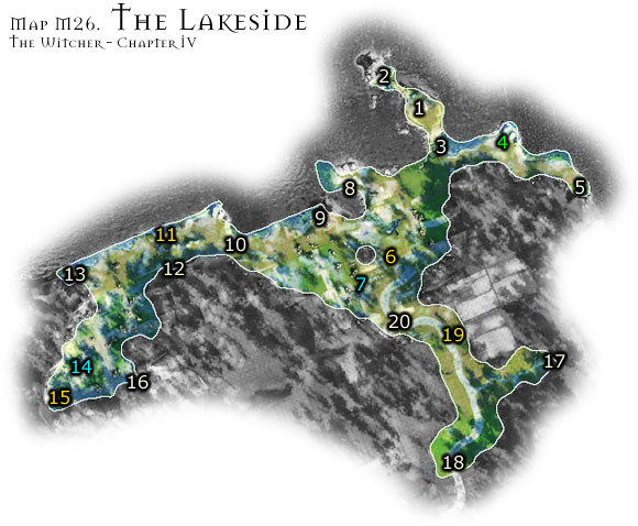 The lakeside is a dangerous location at all times - Map M26 - The Lakeside | Walkthrough - Maps | Chapter IV - The Witcher Game Guide & Walkthrough