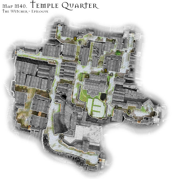 In the epilogue, Temple Quarter is a dangerous location at all times - Map M40 - Temple Quarter | Walkthrough - Epilogue - The Witcher Game Guide & Walkthrough