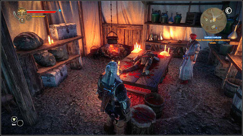 Go to the hospital tent, where Dethmold is with the corpse of one of the assassins (M25, 23) - The Assassins of Kings | Roche Act 2 main mission - Main missions - The Witcher 2: Assassins of Kings Game Guide