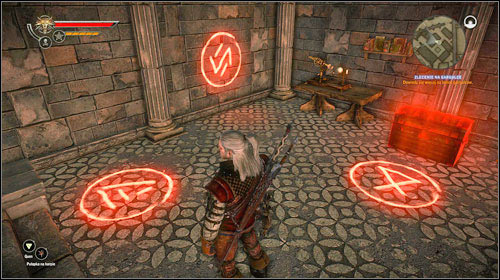 In order to open the chest, you have to extinguish the signs in a proper order - The Gargoyle Contract | Common side missions - Side missions - Common - The Witcher 2: Assassins of Kings Game Guide