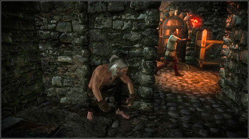 Right to the left of the door you will find stairs leading up - The Dungeons of the La Valettes (step 5) - Main missions - The Witcher 2: Assassins of Kings Game Guide