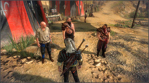 Inside the camp you will come across a group of three men, which you unfortunately wont be able to recognise because of the memory loss - Meliteles Heart | Prologue side missions - Side missions - The Witcher 2: Assassins of Kings Game Guide