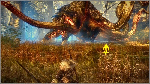 When only the fight begins, run to the right or left - above all dont stand in front of the monster, as he spits toxins and attacks with the two middle tentacles - The Kayran (step 5) - Main missions - The Witcher 2: Assassins of Kings Game Guide