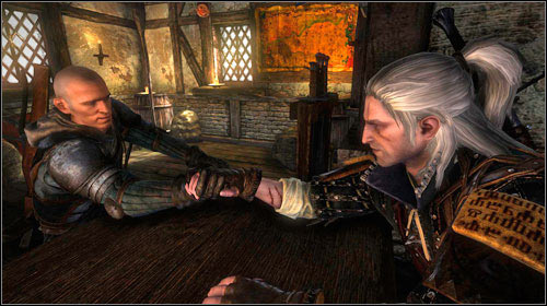 Afterwards comes the arm-wrestling contest - if you manage to win with Fenn and Thirteen, you will receive a sword - Hung Over - Side missions - The Witcher 2: Assassins of Kings Game Guide