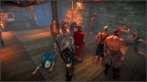 Its quite impossible to miss and not hear the fighting men in the lower part of the tavern (the large gathering of people also speaks for itself) - One on One: Flotsam - Side missions - The Witcher 2: Assassins of Kings Game Guide