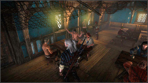 Inside the tavern, by one of the tables, you will find a couple men interested in arm wrestling - Bring it on: Flotsam - Side missions - The Witcher 2: Assassins of Kings Game Guide