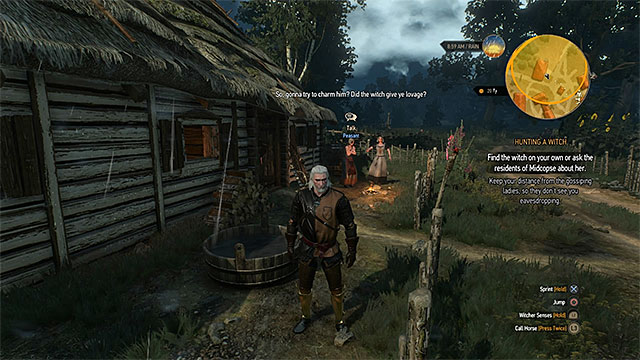 Overhearing the conversation is one of few ways to find the witch - Hunting a Witch - main quest - Crows Perch - The Witcher 3: Wild Hunt Game Guide & Walkthrough