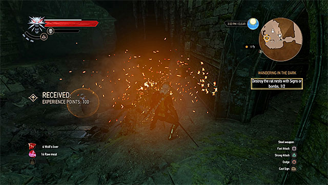 It is best to ignite rat nests with Igni sign - Wandering in the Dark - main quest - Midcopse - The Witcher 3: Wild Hunt Game Guide & Walkthrough