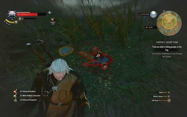 Corpse and tracks hidden with illusion - Witcher contracts in Crookback Bog - Crookback Bog - The Witcher 3: Wild Hunt Game Guide & Walkthrough