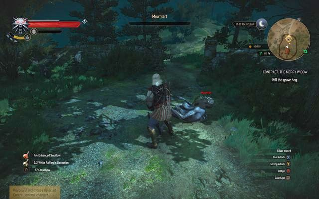 With the Aard you will knock down the enemy in one hit - Witcher contracts in Crookback Bog - Crookback Bog - The Witcher 3: Wild Hunt Game Guide & Walkthrough
