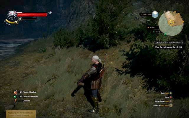 Spill the potion in marked locations - its added automatically to the used items field - Witcher contracts in Crookback Bog - Crookback Bog - The Witcher 3: Wild Hunt Game Guide & Walkthrough