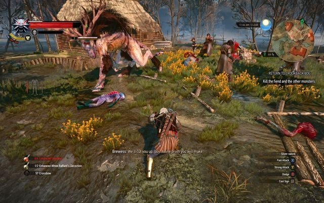 Dont worry about dying allies - you must focus on the fiend - Return to the Crookback Bog - side quest - Crookback Bog - The Witcher 3: Wild Hunt Game Guide & Walkthrough