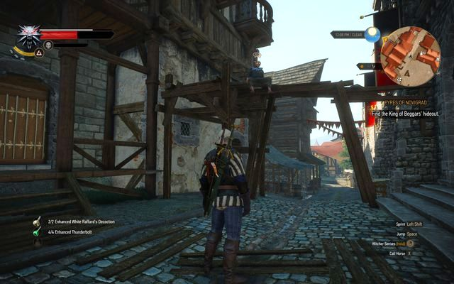 A beggar sitting on the scaffolding - Pyres of Novigrad - main quest - Free City of Novigrad - The Witcher 3: Wild Hunt Game Guide & Walkthrough