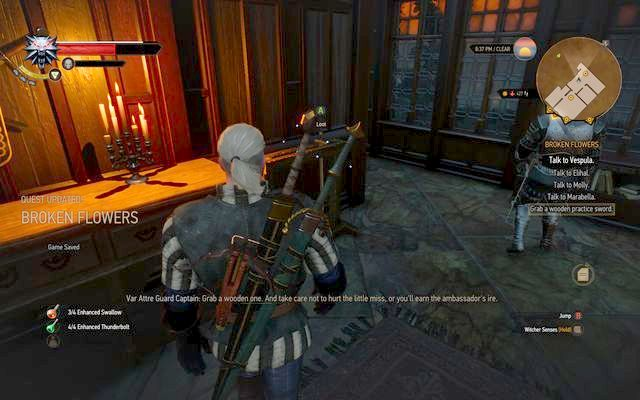 Take the wooden sword to use it in the training - Broken Flowers - main quest - Free City of Novigrad - The Witcher 3: Wild Hunt Game Guide & Walkthrough