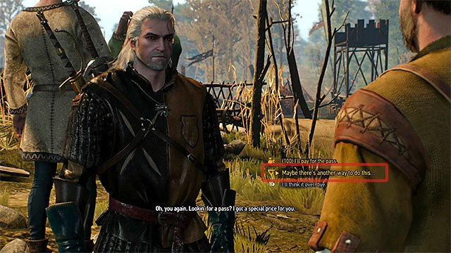 Using Axii sign is an easy way to lower the pass price - Side quests in Inn by the Crossroads - Inn by the Crossroads - The Witcher 3: Wild Hunt Game Guide & Walkthrough