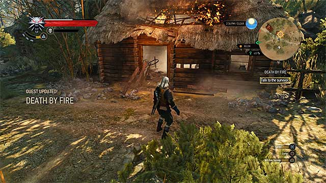 Use Aard sign to unlock entrance to the hut - Side quests in Inn by the Crossroads - Inn by the Crossroads - The Witcher 3: Wild Hunt Game Guide & Walkthrough