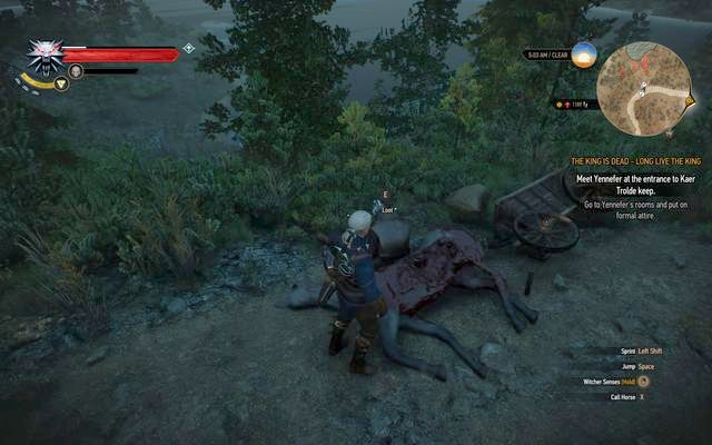 Search the corpse at the road - Treasure hunt in Kaer Trolde - Kaer Trolde - The Witcher 3: Wild Hunt Game Guide & Walkthrough
