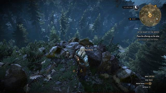 Place the wolves hearts on a small altar near the cliff. - Side quests in Kaer Muire - Kaer Muire - The Witcher 3: Wild Hunt Game Guide & Walkthrough