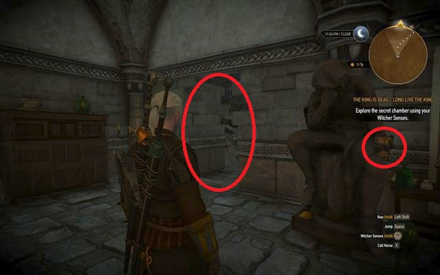 You can look around the laboratory, but in order to continue the search take the vessel from the locker near the bed and place in the hand of the statue standing near the map - by doing so you will open a hidden passage - The King is Dead - Long Live The King - main quest - Kaer Trolde - The Witcher 3: Wild Hunt Game Guide & Walkthrough