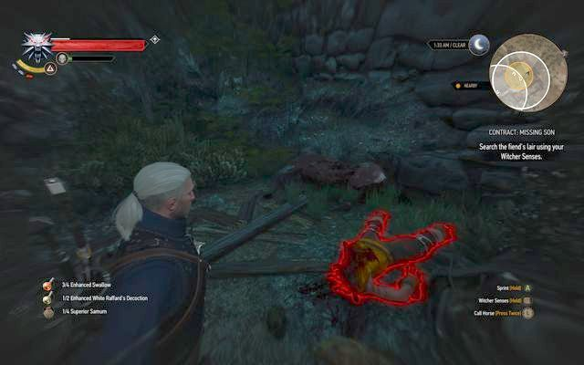 The body of missing Odhens son - Witcher contracts in Kaer Trolde - Kaer Trolde - The Witcher 3: Wild Hunt Game Guide & Walkthrough