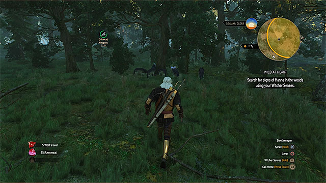 You must find and attack a group of wolves in the forest - Side quests in Crows Perch - Crows Perch - The Witcher 3: Wild Hunt Game Guide & Walkthrough