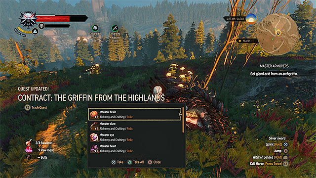 After killing the griffin obtain its acid gland - Side quests in Crows Perch - Crows Perch - The Witcher 3: Wild Hunt Game Guide & Walkthrough