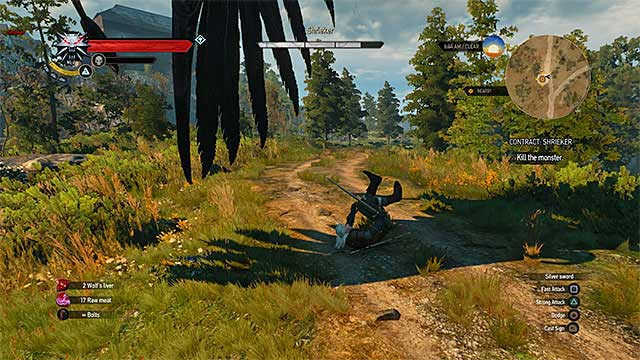 Dodge whenever the shrieker attacks from the sky - Witcher contracts in Crows Perch - Crows Perch - The Witcher 3: Wild Hunt Game Guide & Walkthrough
