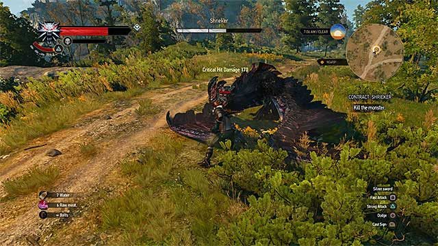 Stun the monster, hit him with few fast attacks and jump back - Witcher contracts in Crows Perch - Crows Perch - The Witcher 3: Wild Hunt Game Guide & Walkthrough