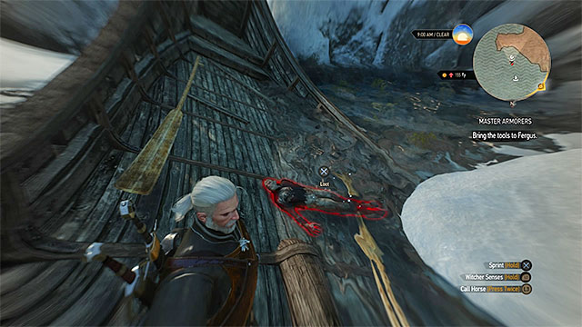 Find the wreck and examine the corpse - Treasure hunt in Undvik - Undvik - The Witcher 3: Wild Hunt Game Guide & Walkthrough