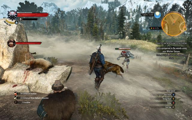 Repel muckixers attacks during the ritual - Practicum in Advanced Alchemy - side quest - Kaer Trolde - The Witcher 3: Wild Hunt Game Guide & Walkthrough