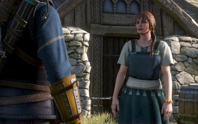 Ask the Skellige villager who stands at the water and is wearing a blue dress about the wrap you found - Side quests in Kaer Trolde - Kaer Trolde - The Witcher 3: Wild Hunt Game Guide & Walkthrough