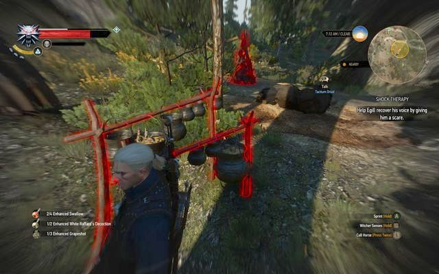 Use witcher senses to highlight the items that you can use - Side quests in Kaer Trolde - Kaer Trolde - The Witcher 3: Wild Hunt Game Guide & Walkthrough