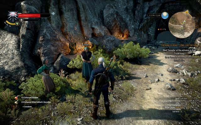 Skellige women in front of the cave - Side quests in Kaer Trolde - Kaer Trolde - The Witcher 3: Wild Hunt Game Guide & Walkthrough
