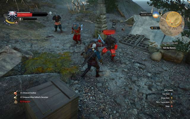 Defeat the bandits, find the sword and give it back to its owner - Side quests in Kaer Trolde - Kaer Trolde - The Witcher 3: Wild Hunt Game Guide & Walkthrough