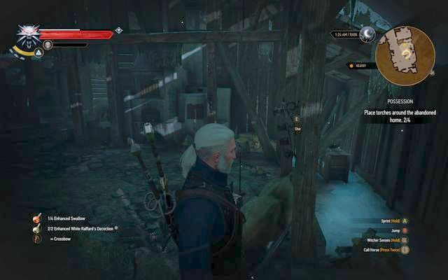 Place the torches on the stand and then light them - Side quests in Kaer Trolde - Kaer Trolde - The Witcher 3: Wild Hunt Game Guide & Walkthrough