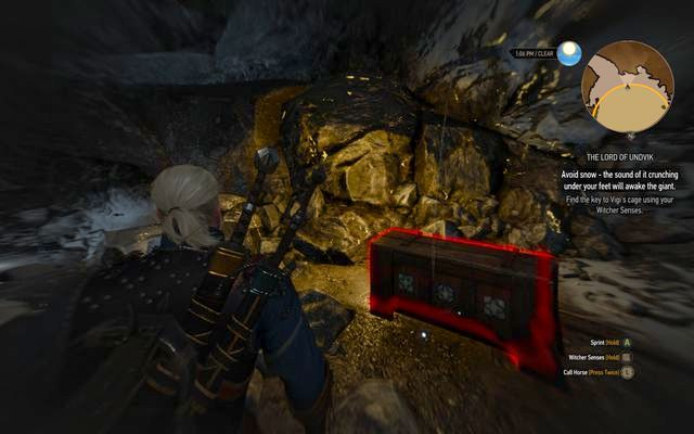 The drawer in giants cave with the key to the cage - Side quests in Kaer Trolde - Kaer Trolde - The Witcher 3: Wild Hunt Game Guide & Walkthrough