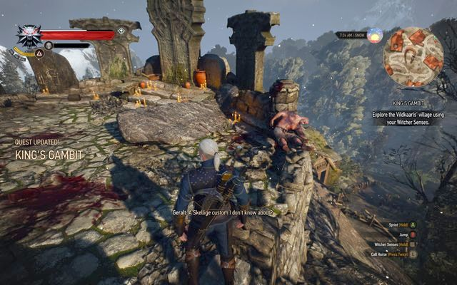 Examine the shrines at the rock - Side quests in Kaer Trolde - Kaer Trolde - The Witcher 3: Wild Hunt Game Guide & Walkthrough