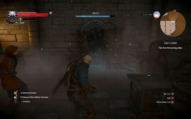 Destroy the barrels blocking the way with Aard sign - Side quests in Kaer Trolde - Kaer Trolde - The Witcher 3: Wild Hunt Game Guide & Walkthrough