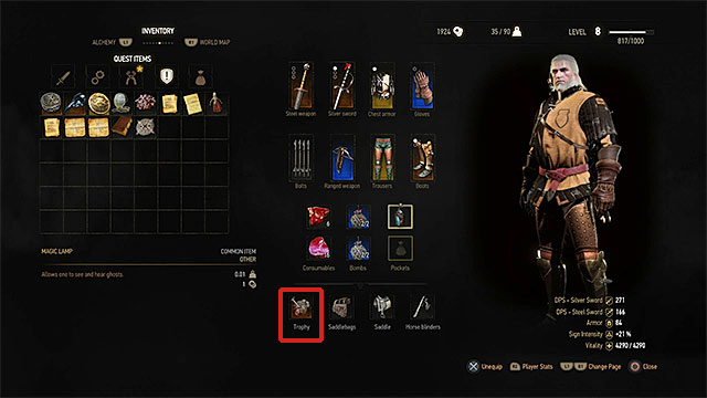 Trophies are placed in one of inventory slots. Only one can be active simultaneously - List of witcher contracts trophies - Quest lists - The Witcher 3: Wild Hunt Game Guide & Walkthrough