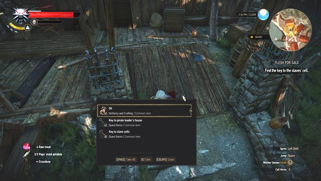 Take the keys from the body of pirates leader. It will open his quarter and slaves cage. - Side quests in Faroe Isle - Faroe Isle - The Witcher 3: Wild Hunt Game Guide & Walkthrough