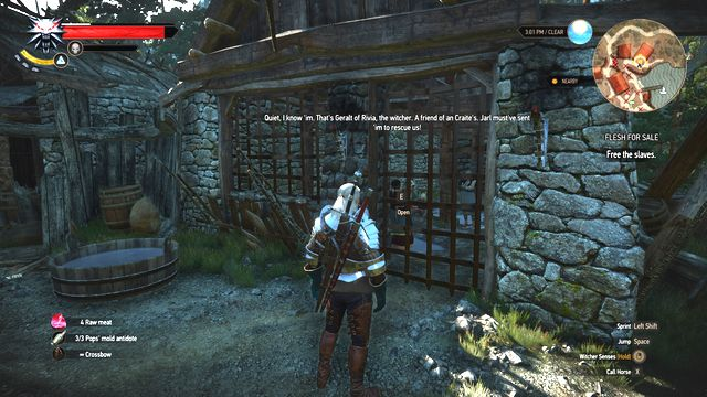 Open the cage with the key you received. - Side quests in Faroe Isle - Faroe Isle - The Witcher 3: Wild Hunt Game Guide & Walkthrough