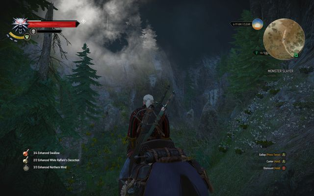 You will easily recognize the spot - its the only place where you can find storm on a very low altitude level - Side quests in Epilogue - Epilogue - The Witcher 3: Wild Hunt Game Guide & Walkthrough