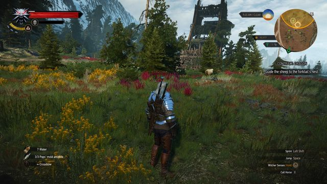 Round up the sheep under the destroyed siege tower. - Witcher contracts in Kaer Muire - Kaer Muire - The Witcher 3: Wild Hunt Game Guide & Walkthrough