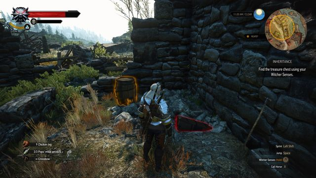 The treasure is buried in one of the destroyed houses. - Treasure hunt in Kaer Muire - Kaer Muire - The Witcher 3: Wild Hunt Game Guide & Walkthrough
