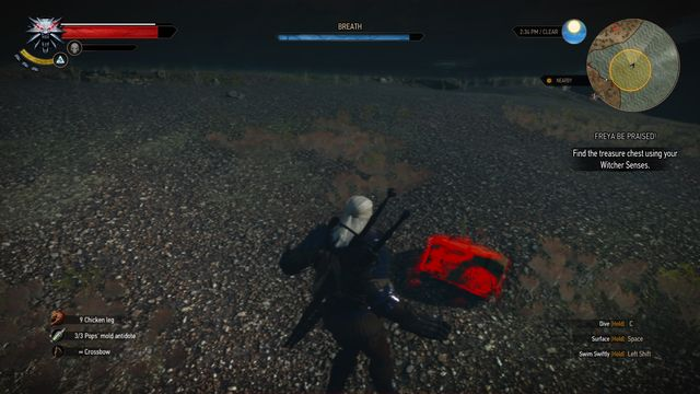 The treasure is lying at the bottom of a small lake. - Treasure hunt in Kaer Muire - Kaer Muire - The Witcher 3: Wild Hunt Game Guide & Walkthrough